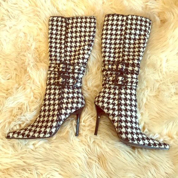 Unique Houndstooth Tall Calf Boots!